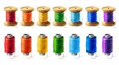 Vector realistic set of wooden and plastic bobbins, spools with colored thread isolated on background. Equipment for sewing, tailoring, accessory for needlework and clothing repair poster
