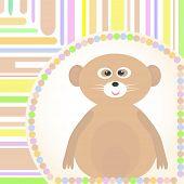 cute Baby lemur greetings card for Vector scrapbook poster