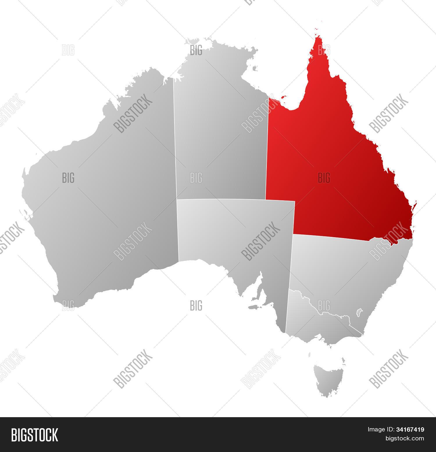 Map Of Australia Highlighting Queensland.Map Australia Image Photo Free Trial Bigstock