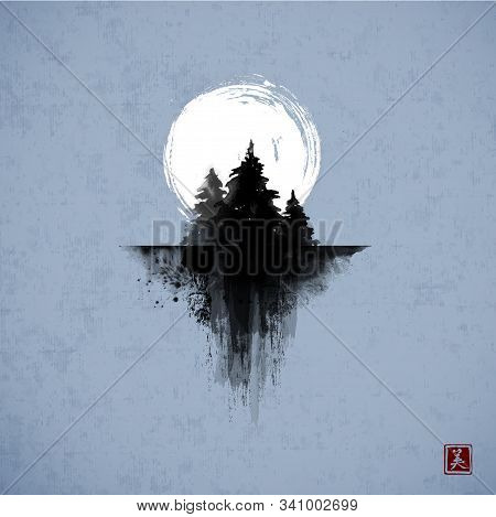 Ink Wash Painting With Three Pine Trees And Big Moon In Night Sky. Traditional Oriental Ink Painting