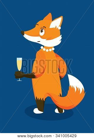 Anthropomorphic Red Lady Fox With A Glass Of Champagne. Isolated Character On Blue Background. Vecto