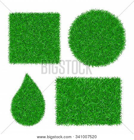 Green Grass Background 3d Set. Lawn Greenery Nature Square, Circle, Rectangle, Drop Isolated On Whit