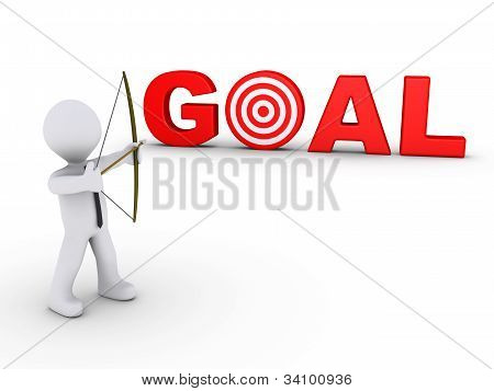 Businessman As Archer Aiming At A Goal Target
