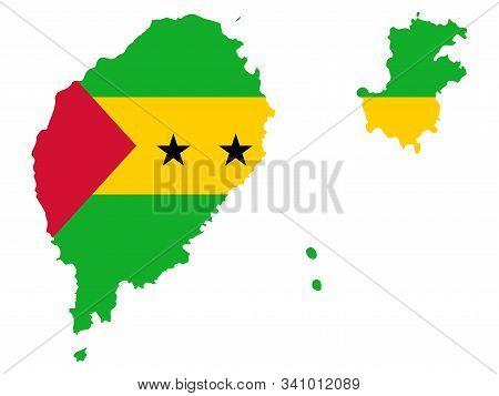 Sao Tome And Principe Map Flag Vector Illustration Eps 10.