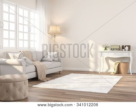 Vintage Style Living Room 3d Render,the Rooms Have Wooden Floors And Cream Color Walls ,decorate Wit