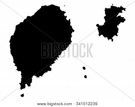 Sao Tome And Principe Map Black Silhouette Vector Illustration Eps 10.