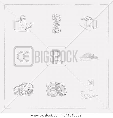Set Of Vehicle Icons Line Style Symbols With Ce Marking, Dump Truck, Scissor Lift And Other Icons Fo
