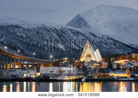 Tromso At Winter Time, Christmas in Tromso, Norway - Black and White Toned