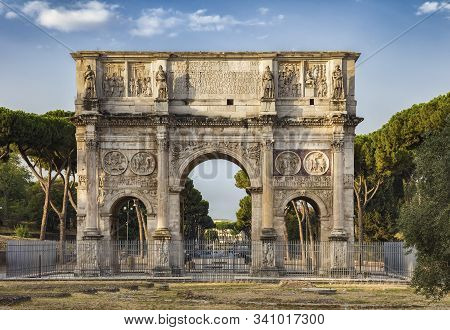 The Arch Of Constantine Is A Triumphal Arch In Rome, Situated Between The Colosseum And The Palatine