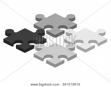 Puzzle Piece Business Presentation. Jigsaw Object. Vector Connection Concept. 3d Isometric Illustrat