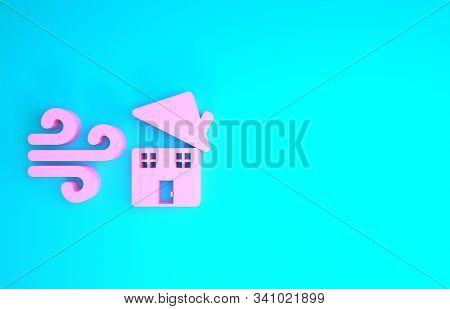 Pink Tornado Swirl Damages House Roof Icon Isolated On Blue Background. Cyclone, Whirlwind, Storm Fu