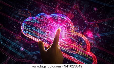 Cyber Cloud Symbol Futuristic 3d Rendering Illustration. Abstract Digital Concept Of Data Storage, D