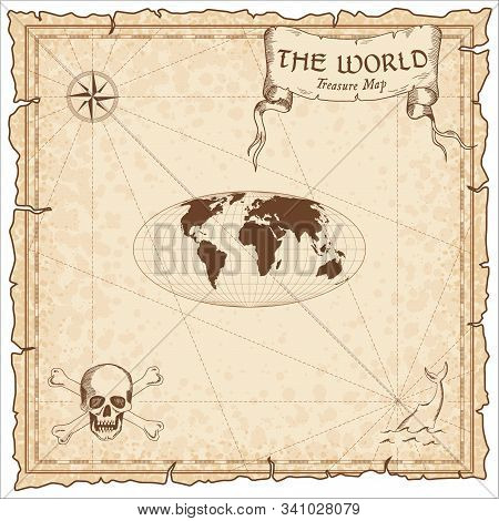World Treasure Map. Pirate Navigation Atlas. Equal-area, Pseudocylindrical Mollweide Projection. Old