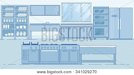 Efficient Restaurant Kitchen. Innovative Layout With Necessary Equipment For Food, Stuff And Staff.