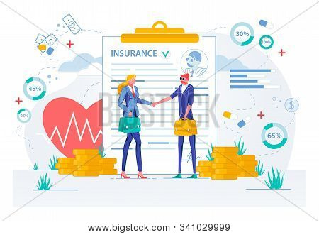Insurance Deal Conclusion Or Contract Signing With Business People Characters Shaking Hands. Busines