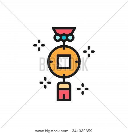 Chinese Charm, Feng Shui Coin Flat Color Line Icon.