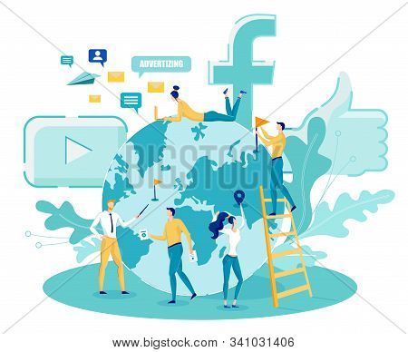 Global Digital Social Media Marketing. Advertising Flat Banner With Tiny People Standing And Working
