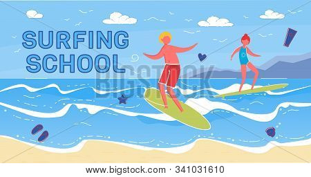 Summer Surfing School For People Who Want To Learn How To Surf Or Improve Existing Skills. Lessons F