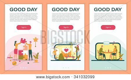 Loving Couple, Man And Woman Cartoon Characters Dating And Building Personal Relationship On Smartph