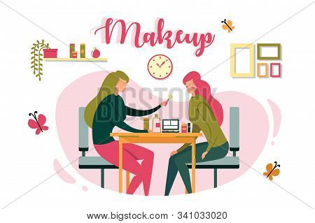 Salon Worker Does Makeup To Client, Illustration. Two Girls Are Sitting Opposite Each Other. One Emp