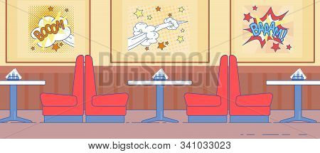 American Diner Interior In 1950s Design With Red Couch Furniture Vector Illustration. Retro Comics A
