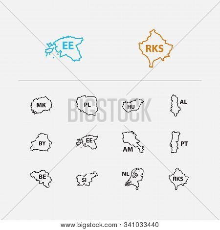 Cartography Icons Set. Poland And Cartography Icons With Estonia, Hungary And Belarus. Set Of Of For