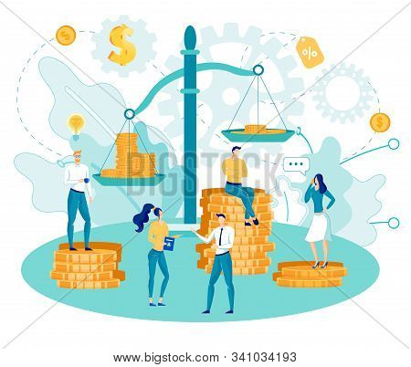 Business People - Men And Women Characters Weighing Coins On Scales. Great Financial Success, Profit