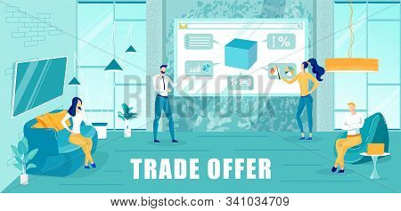 Businessman And Business Lady Makes Trade Offer To Customers. Company Representative Communicates Wi