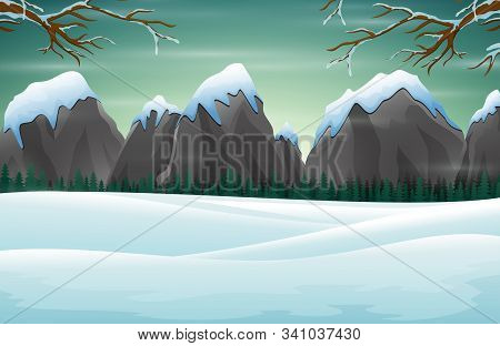 Winter Scene With Snow Mountains Rocks Hills