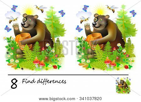 Logic Puzzle Game For Children. Need To Find 8 Differences. Printable Page For Baby Brainteaser Book