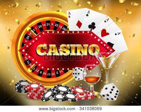 Winner Banner With Golden Slot Machine Wins The Jackpot. Win Congratulations Vintage Frame, Golden C