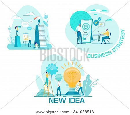 Creation And Implementation Business Strategy. Man Stands Next To Large Smartphone. Phone Screen Tar