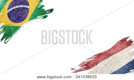 Flags Of Brazil Andnederland On White Background