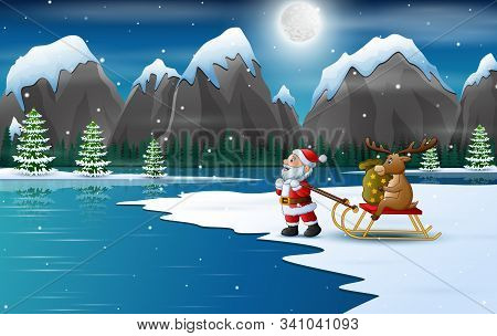 Cartoon Santa Claus Pulling Reindeer On A Sleigh With Sack Of Gifts