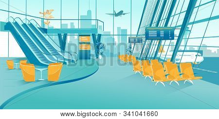 Banner Interior Lounge Area In Airport Building. Waiting Room Modern Airport. Escalator Stairs Desce