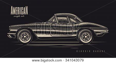 Original Monochrome Vector Illustration Of American Muscle Car In Retro Style.