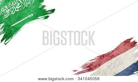 Flags Of Saudi Arabia Andnederland On White Background