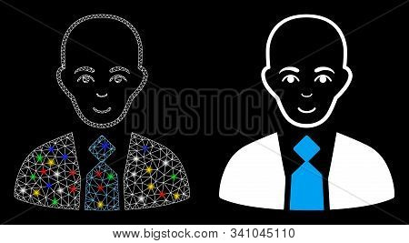 Glowing Mesh Bald Boss Icon With Sparkle Effect. Abstract Illuminated Model Of Bald Boss. Shiny Wire