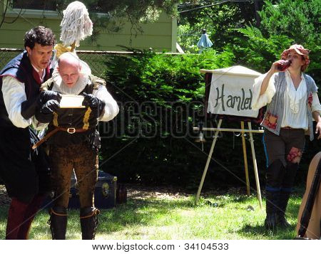 evanston,illinois,usa june 17 siutcase shakespeare company performing hamlet
