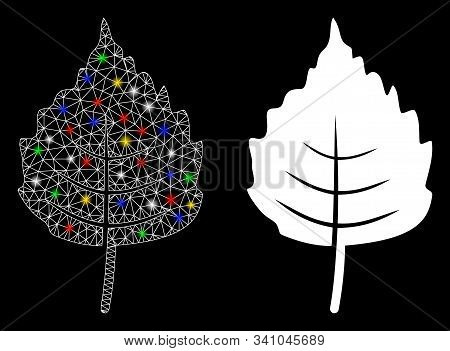 Glossy Mesh Birch Leaf Icon With Glow Effect. Abstract Illuminated Model Of Birch Leaf. Shiny Wire C