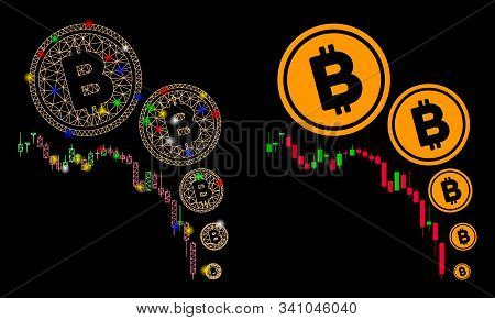 Flare Mesh Bitcoin Deflation Chart Icon With Sparkle Effect. Abstract Illuminated Model Of Bitcoin D