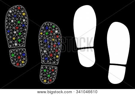 Glowing Mesh Boot Footprints Icon With Glitter Effect. Abstract Illuminated Model Of Boot Footprints