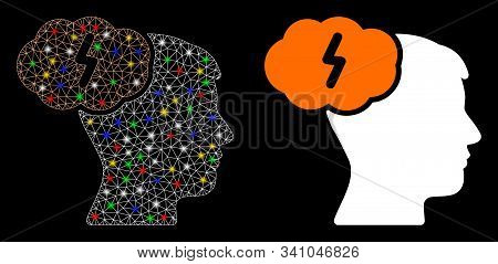Glossy Mesh Brainstorm Icon With Glare Effect. Abstract Illuminated Model Of Brainstorm. Shiny Wire