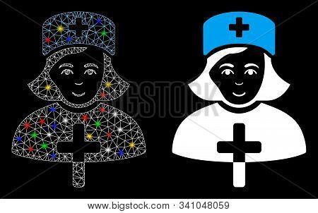 Glossy Mesh Catholic Lady Doctor Icon With Glare Effect. Abstract Illuminated Model Of Catholic Lady