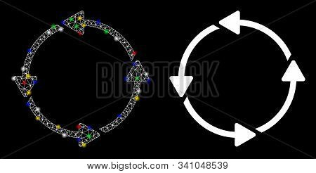Flare Mesh Circular Route Icon With Sparkle Effect. Abstract Illuminated Model Of Circular Route. Sh