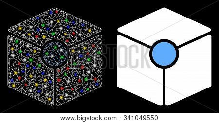 Glowing Mesh Cube Vertex Icon With Sparkle Effect. Abstract Illuminated Model Of Cube Vertex. Shiny