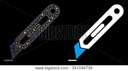 Glossy Mesh Cutter Icon With Glitter Effect. Abstract Illuminated Model Of Cutter. Shiny Wire Carcas