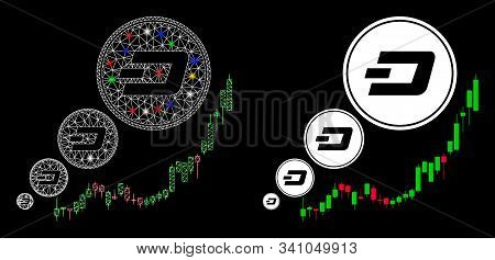 Glowing Mesh Dashcoin Inflation Chart Icon With Lightspot Effect. Abstract Illuminated Model Of Dash