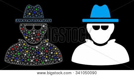 Glowing Mesh Detective Icon With Glow Effect. Abstract Illuminated Model Of Detective. Shiny Wire Fr