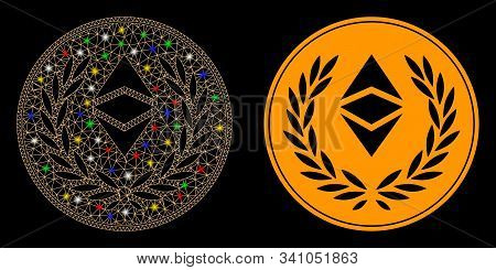 Glossy Mesh Ethereum Classic Laurel Coin Icon With Glare Effect. Abstract Illuminated Model Of Ether